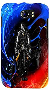PrintVisa 3D-MMXC2A110-D7666 Boy Fire Ice Back Cover for Micromax Canvas 2 A110