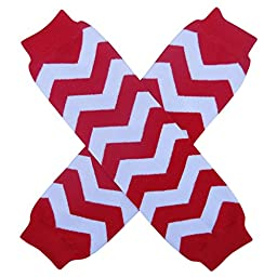 Christmas Holiday Winter Party Styles Leg Warmers - One Size - Baby, Toddler, Girl, Boy (Chevron Stripe Red & White)