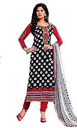 Om Creation black Embroidered cotton Salwar Suit HS76