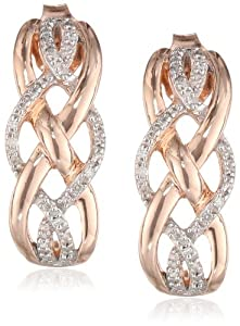 14k Rose Gold Plated Sterling Silver Diamond Earrings (1/10 cttw, I-J Color, I2-I3 Clarity)
