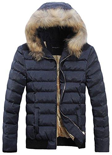 Fiream Herren Winter Pelzkragen Baumwolle Warm Mit Kapuze Daunenjacken(Blau,EUR XXL)