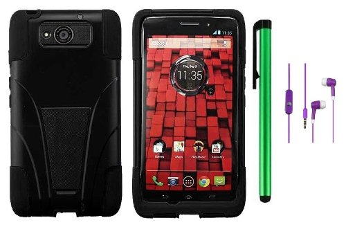 Review:  Motorola DROID ULTRA MAXX XT1080M / Motorola Obake (Verizon) Accessory - Premium Stand Protector Hard Cover Case + 3.5MM Stereo Earphones + 1 of New Metal Stylus Touch Screen Pen (Black / Black)