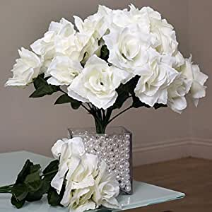 252 Silk Open Roses Wedding Flowers Bouquets Cream Home
