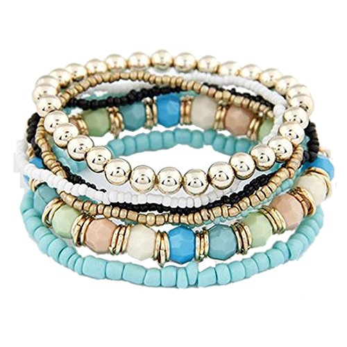 Susenstone®1 Set 7Pcs Boho Wholesale Multilayer Acrylic Beads Beach Bracelet (Brown)