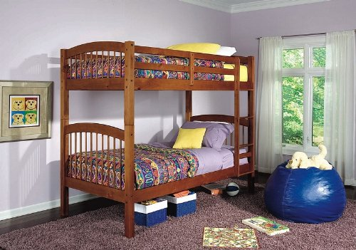 Oak Finish Solid Wood Twin Size Bunk Bed