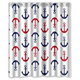 "Modern Cool Cute Blue And Red Anchor Fluke White Background New Waterproof Polyester Fabric Shower Curtain (60""x72"") Special Bathroom Decoration"