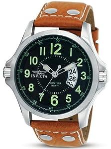 Invicta II Black Dial Leather Bracelet Mens Watch 0787