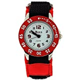Boxx Rotating Bezel Black Leather & Red Fabric Strap White Dial Boys Watch F1546