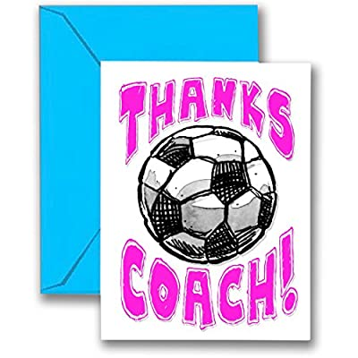 "SOCCER 3-PACK ""Thanks Awesome SOCCER Coach!"" (Pink) SPORTS POWERCARD Greeting Cards (5x7) 3-Pack Perfect for youth sports - COACH will love it! #AllProfitsToHelpKids ..."