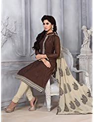 Mastani Kreation Brown Chanderi Embroidered Unstitched Dress Material