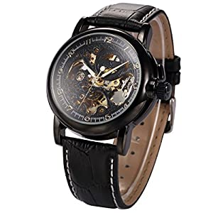 KS Men Luxury Skeleton Automatic Mechanical Black Leather Analog Sport