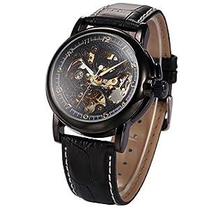 KS Men Luxury Skeleton Automatic Mechanical Black Leather Analog Sport Watch KS036