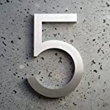 "Modern House Number Aluminum Modern Font Number Five ""5"" 6 inch"