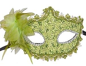 Lace Venetian Masquerade Halloween Costume Mask with Rhinestone Liles (Green)