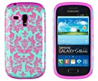 DandyCase 2in1 Hybrid High Impact Hard Sea Green Flower Pattern + Pink Silicone Case Cover For Samsung Galaxy S3 Mini i8190 + DandyCase Screen Cleaner