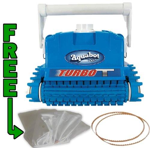 Aquabot Turbo T Robotic Pool Cleaner with a Free extra Filter Bag, Free set of extra Drive Belts, and All with Free Shipping!