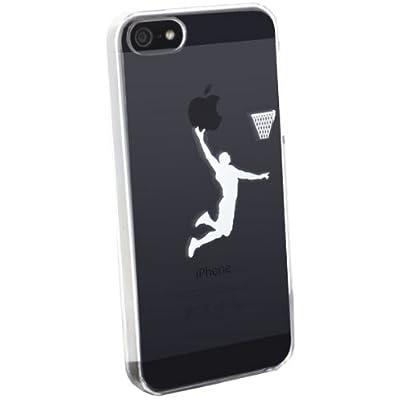 SoftBank au iPhone 5 専用 Applus キャラクター ハード クリア iPhone5 ケース カバー (ホワイト/バスケ)