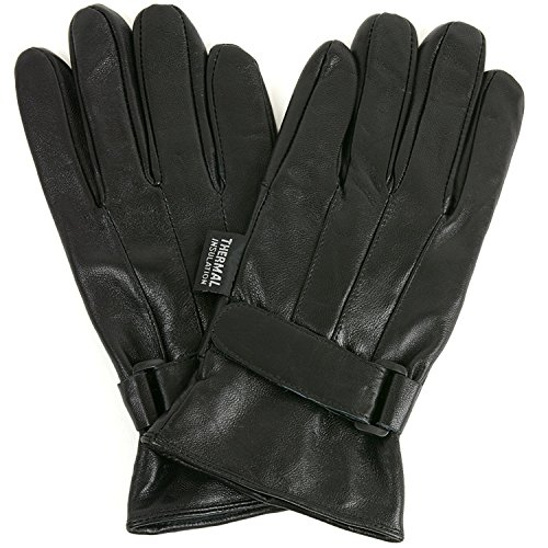 Mens Dressy Leather Gloves Velcro Wrist Strap Warm Thermal Lining Insulated M Genuine Leather Gauntlet Gloves