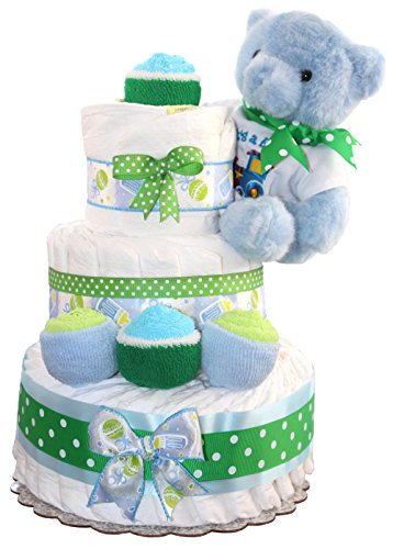 3 Tier Diaper Cake - Blue Teddy Bear Diaper Cake For Boy - Baby Gift For Baby Shower - Teddy Bear Theme - Diaper Cake Is Decorated With Cupcakes Made Out Of Newborn Socks And Washcloths (Blue) (Teddy Bear Theme compare prices)