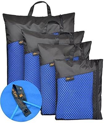 Sunland Extra Leicht und Kompakt Schnelltrocknendes Saugfähiges Mikrofaser Reisehandtuch Sporthandtuch Fitnesshandtuch Badetuch Saunatuch Handtüch