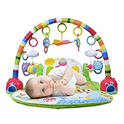 AOLI 666-10 Multifunctional Baby Fitness Rack Soft Mat Piano Music Play Gym with Switch Sound Adjustment Color Lights for Infants