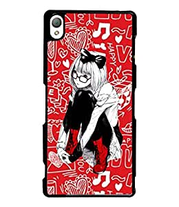 Fuson Love Pattern Girl Back Case Cover for SONY XPERIA Z3 - D3885