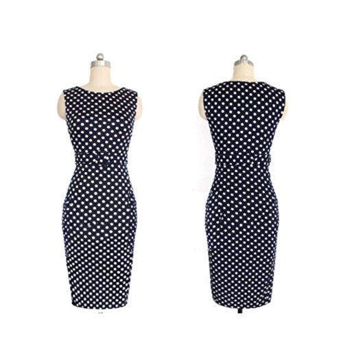 cab2a2db49 ... Janecrafts Elegant Pinup Polka Dot Bodycon Pencil Tank Business Work  Belted Dress (S) ...
