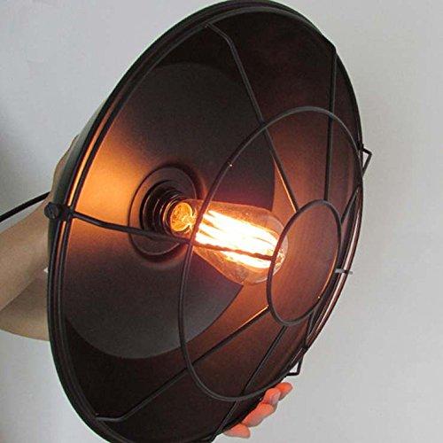 "Adjustable Industrial Edison Vintage Cage Pendant Light - LITFAD 10"" Classic Barn Metal Pendant Lighting Chandelier Mounted Light Fixtures Painted Finish 3"