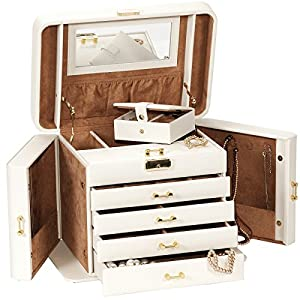 Mele & Co Empress Cream and Tan XL Jewellery Box       Customer reviews and more information