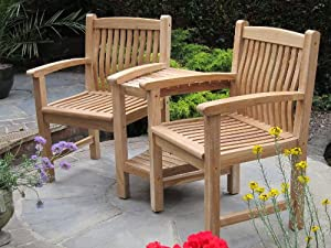 Teak love seat garden outdoors for Garden love seat uk