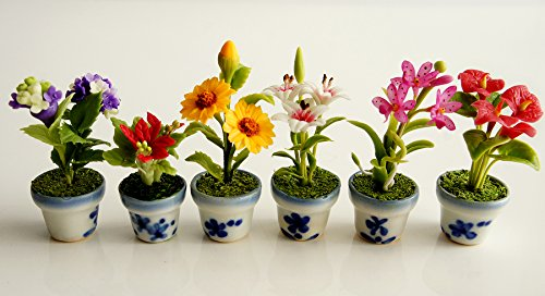Exotic Collectible Miniatures Flower Garden Flower Pots Scale 1:12 Set of 6 .