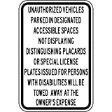 ComplianceSigns Aluminum Parking Control sign, Reflective 18 x 12 in. with Parking Handicapped info in English, White