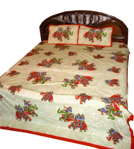 3 Pc Set Desiner Bed Sheet Block Print in Cotton King/queen Size From India 108'