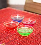 Blackberry Overseas Decorative Gel Filled Glass Diya Set Of 4