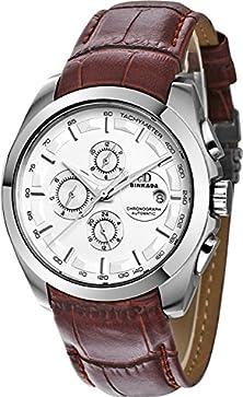 buy Binkada 6 Pointer Automatic Mechanical White Dial Men'S Watch #7033N02-1