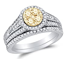 buy Size 5 - 14K White Two Toned Gold Yellow & White Round Diamond Halo Circle Bridal Engagement Ring & Matching Wedding Band Two Piece Set - Prong Set Round Center Setting Shape (1.00 Cttw.)