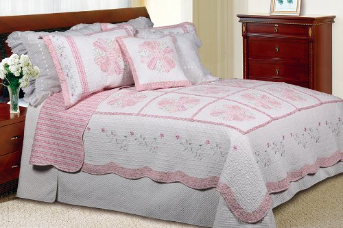 [Daisy Field] 100% Cotton 3PC Floral Vermicelli-Quilted Embroidered Patchwork Quilt Set (King Size)