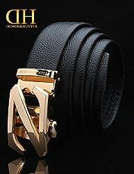 Demon&Hunter Black Gold Series Men's Leather Ratchet Belt DH729B(Black/110CM)