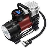 Portable Digital Tire Inflator – GOOLOO Electric 12V DC 150 PSI Auto Air Compressor Pump with Preset Pressure Shut Off Gauge and Emergency Light for Car Tyre, Motorcycle, Bicycle and Other Inflatable