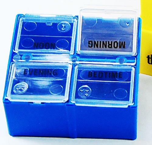 Borinhalbich-7-Day-4-Compartment-Pill-Organizer-DEEP-One-Inch-Yellow-Tray