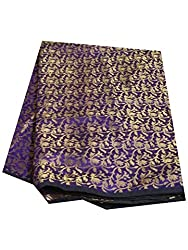 Brocade unstitched Fabric by JDK NOVELTY - Purple Base Golden flower wel design fabric (A-3-PURPLE_1M) One meter long