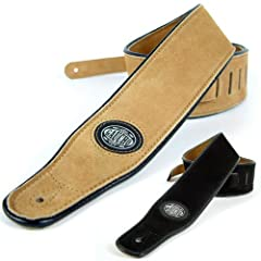 Natural Guitar Strap: Suede & Leather Electric/Acoustic/Electro/Bass 128 - 175cm