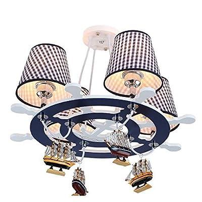 CHXDD Mediterranean Rudder Boy's Room Pendant Lights Cartoon Creative Wooden Kid's Room Pendant Lamp Baby Room Chandelier Fixture