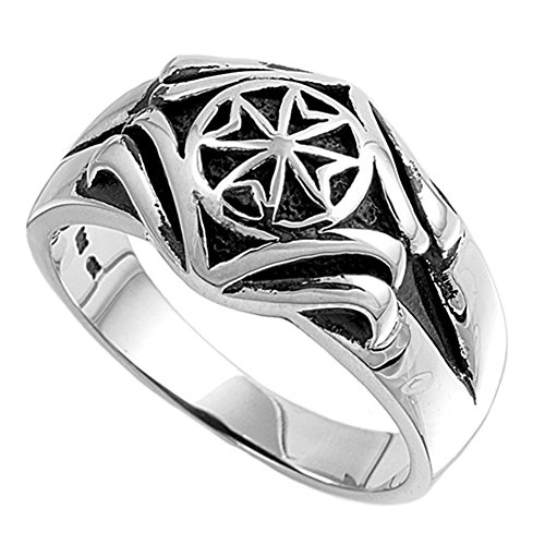 Sterling Silver Men'S Iron Cross Ring Classic Comfort Fit Pure 925 Band New 13Mm Size 9 front-602289