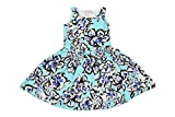 Twist Girls Kids Printed Cotton Partywear Casual Frocks Dresses - Big Floral Print in Light Blue, Black & Royal Blue Color