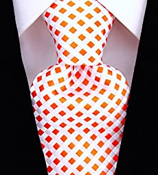 Scott Allan Mens Checkerboard Necktie - Orange