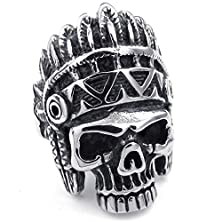buy Bishilin Stainless Steel Men'S Rings Punk Gothic Indian Native Americans Skull Black Silver Size 10