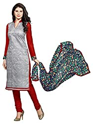 Craftliva Grey & Red Embroidery Chanderi Cotton Dress Material