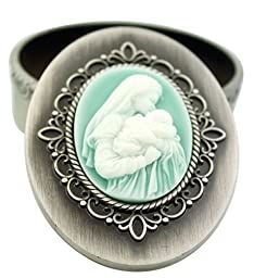 A Mother's Kiss Resin Icon on Silver Tone Rosary Box, 2 3/4 Inch by CB