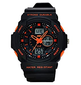 Women's Fashion Sports Multi-Function Electronic Waterproof Watch(Orange)